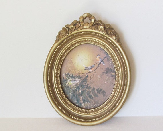 Vintage Homco Gold Frame and Blue BIrd Art Wall with Nest Hanging Cottage Chic