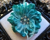 Ready to Ship - Auqua / Tiffany Blue Flower with Feathers and Jeweled Center - Hairclip or Brooch Pin