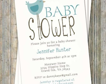 Bird baby shower invitations, bird themed baby shower