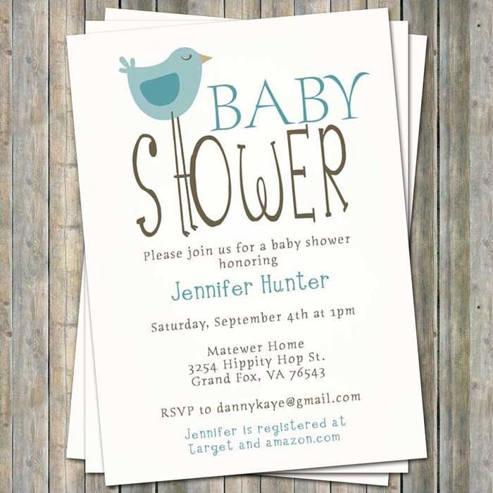 baby bird invitation  etsy, Baby shower invitations