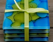 """Hand Painted Coasters - Look of Sea Glass - Set of 4 - """"Under The Sea""""  (/C-005)"""