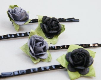 Grey and Black  Rose Bobby Pins