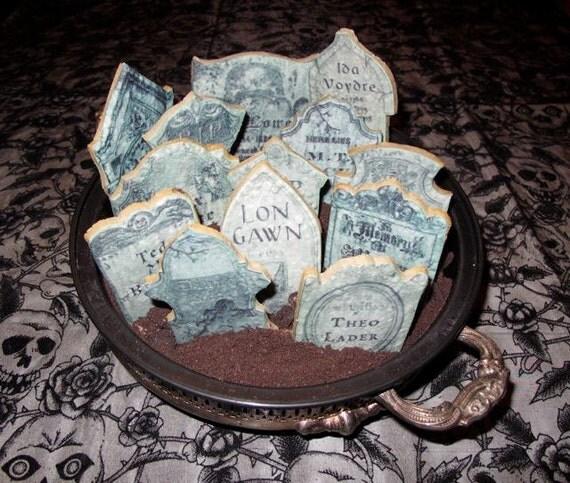 Tasty Tombstones 13 Custom Epitaphs - Set of 2 Pre-Printed Frosting Sheets