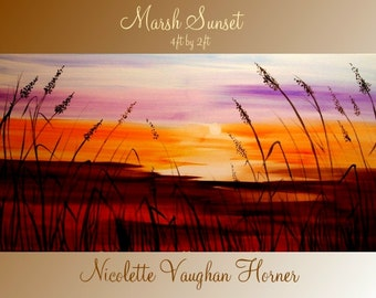 XL Abstract Original Seascape Florida Marsh Sunset   painting by Nicolette Vaughan Horner ready to hang 48x24""