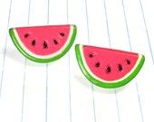 watermelon earrings - watermelon jewelry - watermelon studs - watermelon - fruit earrings - fruit studs - fruit earrings - kawaii - summer