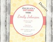 Baby Shower Invitation with honeycomb Girl Baby Shower Invitation, gender neutral, pink and yellow, digital, printable file (item123)