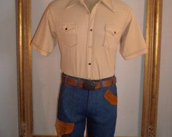 Vintage 1970's Dr, Denim & Mr. Hide Demin/Suede Boot Cut Jeans - Size 32
