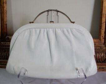 Vintage 1960's Ande White Leather Handbag
