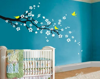 cherry blossom decal wall decal tree decal nursery wall decal baby name vinyl decal kids wall decor-plum blossom Floral with Flying Birds