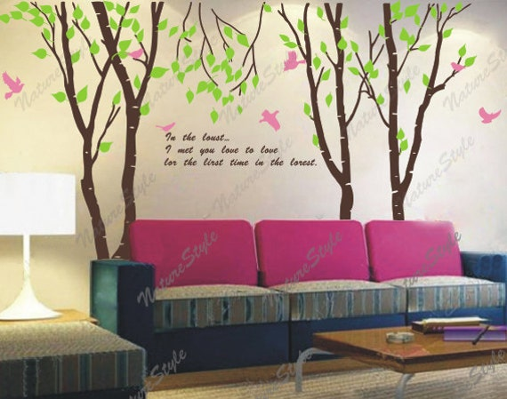 birch trees wall decal nursery wall decals baby wall decal vinyl decal trees wall decal birds-3 Birch Tree with Flying Birds and Letters