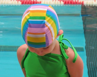 Lycra SWiM CaP - GIRLY STRIPES - Sizes - Baby , Child , Adult , XL - Made from Spandex / Swimsuit Swimming Fabric -by Froggie's Swim Caps