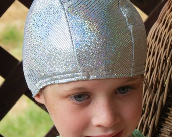 Lycra SWiM CaP - SILVER SPARKLE - Sizes - Baby , Child , Adult , XL - Made from Spandex / Swimsuit Swimming Fabric -by Froggie's Swim Caps