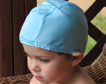 Lycra SWiM CaP - LIGHT BLUE - Sizes - Baby , Child , Adult , XL - Made from Spandex / Swimsuit Swimming Fabric -by Froggie's Swim Caps