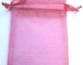 Set of 20 Rose Organza Bags (3x4)