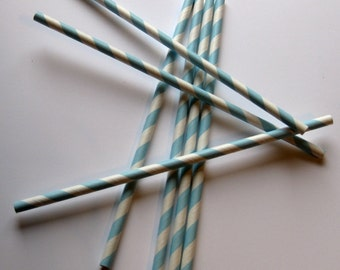 25 Paper Baby Blue & White Striped Straws - Free Printable Straw Flags