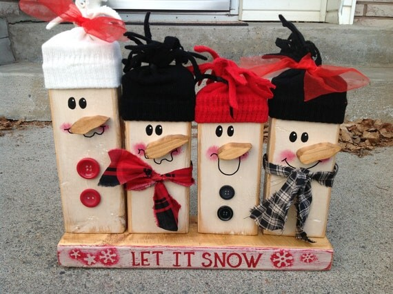 Items similar to christmas snowman rustic family shabby for Rustic snowman decor