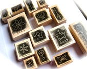Holidays and Seasons Rubber Stamp Complete Set-Lot of 14-Leaf, Christmas Ornament, Snowflake, Butterfly, Seashell, Star, Heart-Card-Tags