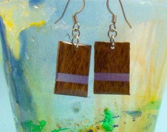 Wood Earrings - Mahogany & Purple Chiclet