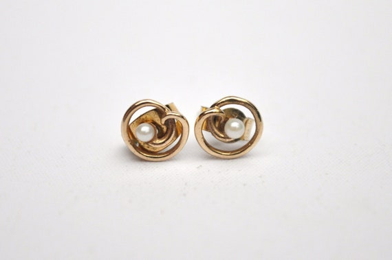 Vintage Pearl Earrings - 9K Gold & Pearl - Tiny - 1980's