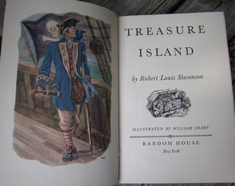 """Vintage """"Treasure Island"""" 1949 Illustrated w/ Color Plates Random House mint condtion"""