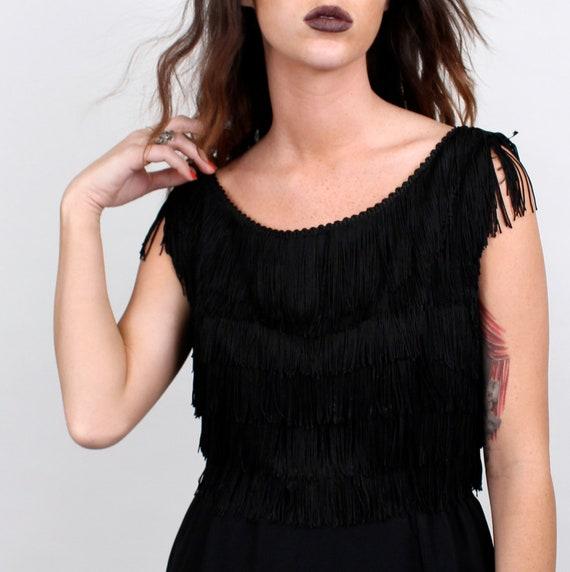 Vintage Fringe Jet Black Mini Dress / Tassle Party Dress / size small or medium 1960s MOD Evening Party