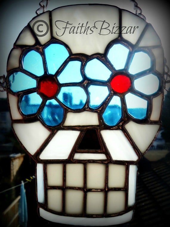 Items similar to Stained Glass Sugar Skull Suncatcher Day ...