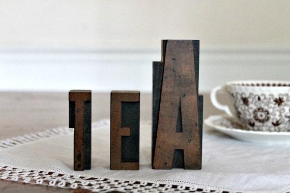 """Reserved for Kat....Vintage Letterpress """"TEA"""""""
