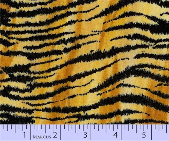 WILD STYLE TIGER black gold cotton print-by the yard Marcus fabric