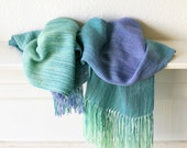 Hand woven scarf gradient color blue green purple long with fringe
