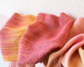 Hand woven scarf gradient color red yellow pink long with fringe