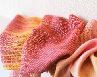 Woven scarf, pashmina scarf, bridesmaids shawl, women scarf gradient color red yellow pink gift for her