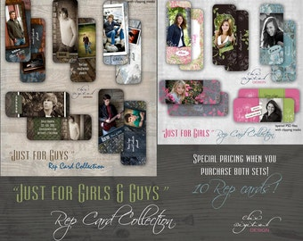 """Senior Rep Cards / Millers/ Mpixpro Lab - """"JUST for GIRLS & GUYS"""" Collection - Photoshop templates for Photographers"""