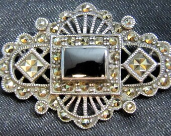 Victorian Marcasite, Onyx and Sterling Brooch