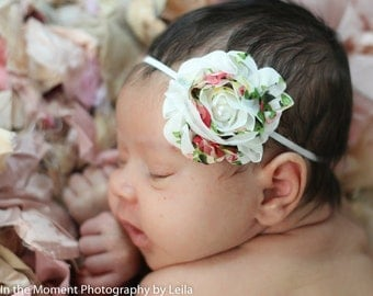 Floral Shabby Baby Headband- Newborn Photo Prop- Vintage- Shabby Shic- Baby Girl Headband- Infant, Toddler, Girl