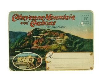 Vintage Postcard Cheyenne Mountains and Canons Souvenir Folder
