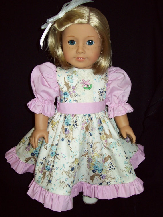 American Girl Doll Clothes  18 inch doll dress and pantaloons. Floral print dress and Pantaloons.One of a kind