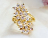 Glitzy Faux Diamond Ring  - 18KT GE - Size 4.5 - D-1
