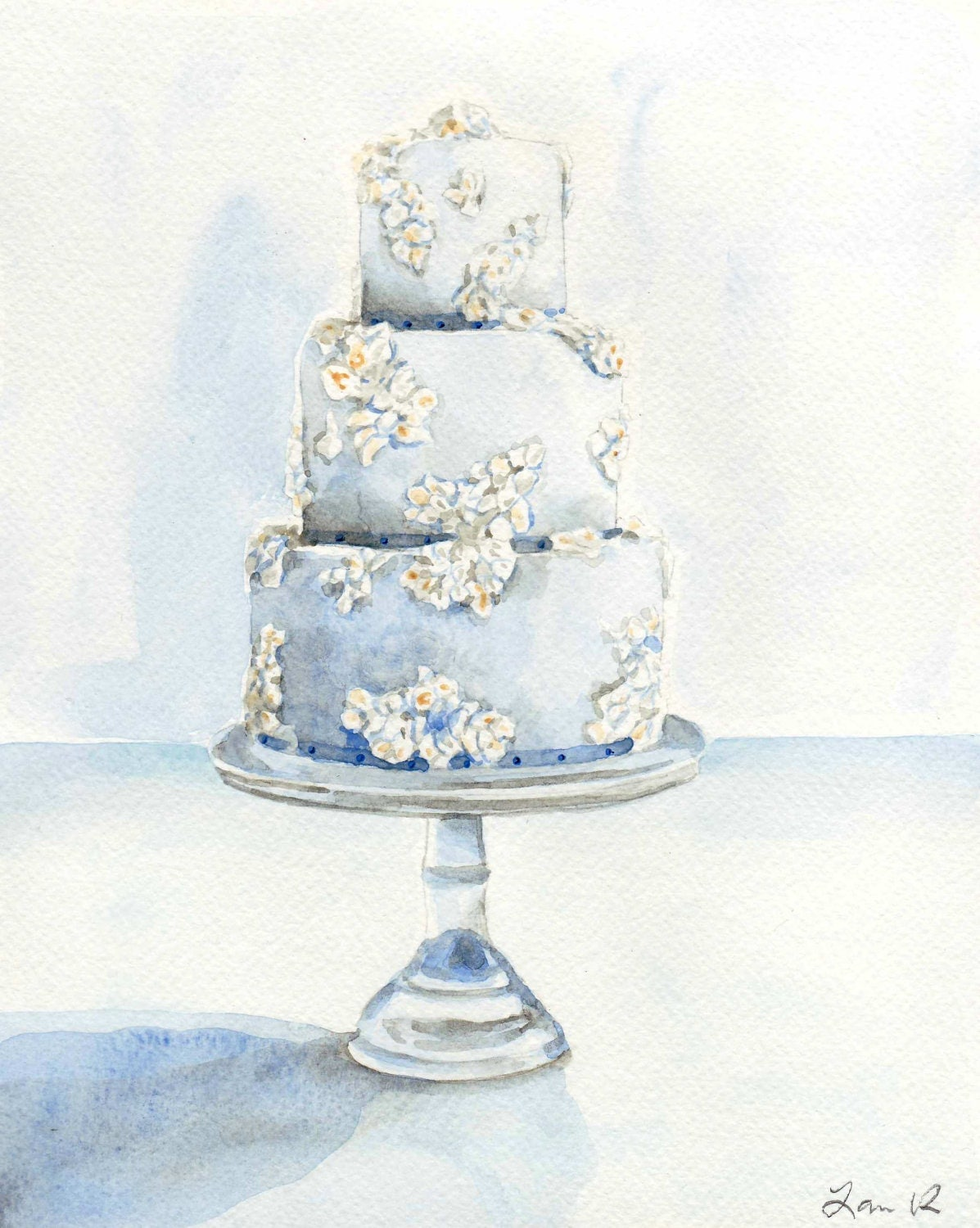 Light Blue Wedding Cake with Flowers ORIGINAL Watercolor