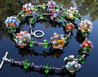 Lampwork Glass Necklace Handmade Beads Handcrafted Wearable Art Jewelry SRA SRAJD