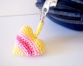 Yellow striped heart plush key chain  on short cord / heart keychain