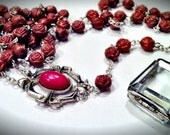 Roses Rosary with Glass Pendant
