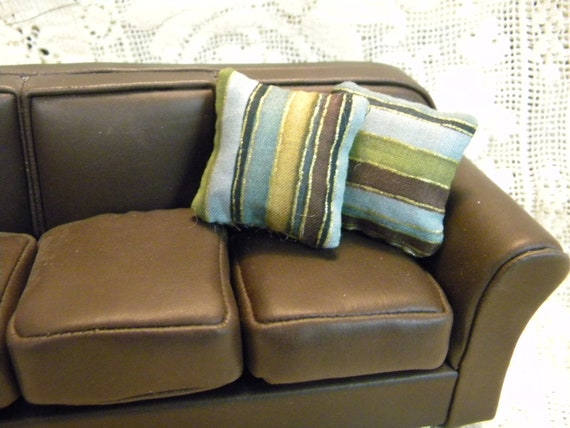 Striped sofa pillows in green gold brown blue for modern - Brown sofa with blue pillows ...