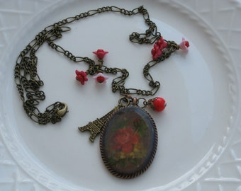 Paris Charm Necklace , Red and Antique Gold