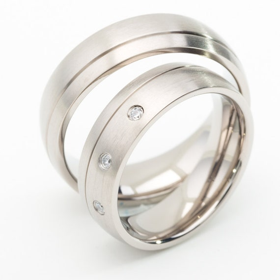 Two Matching 6mm Titanium Wedding Bands Promise Rings for Him  Her