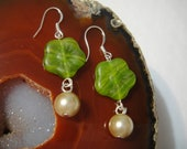 Green Glass Flower Earrings with Light Beige Dangle Pearls and Stamped 925 Sterling Silver Hooks