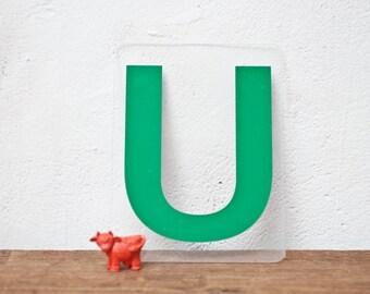 Vintage Letter U - Green Marquee Plastic Letter U Sign Vintage Sign Vintage Marquee U Gas Station