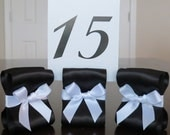 Custom order for Jessica - Table Number Holders - Set of Eighteen (18) with White and Black Satin Ribbon