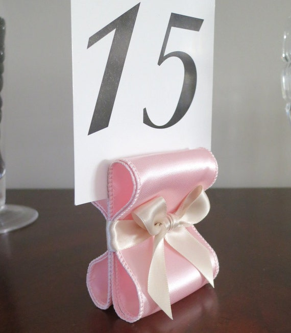 Table Number Holders - Set of Ten (10) with Light Pink and Champagne Satin Ribbon - Customize Your Colors