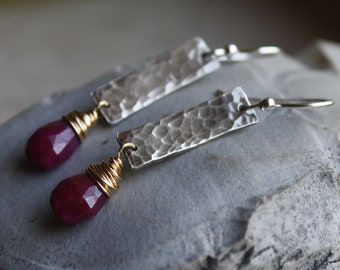 Hammered Silver Earrings with Rubies and 14K Goldfill