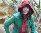 RESERVED for Tara Enchanted Elf Gnome Hood Hand Felted Leafy Woodland Scoodie Scarf Hat